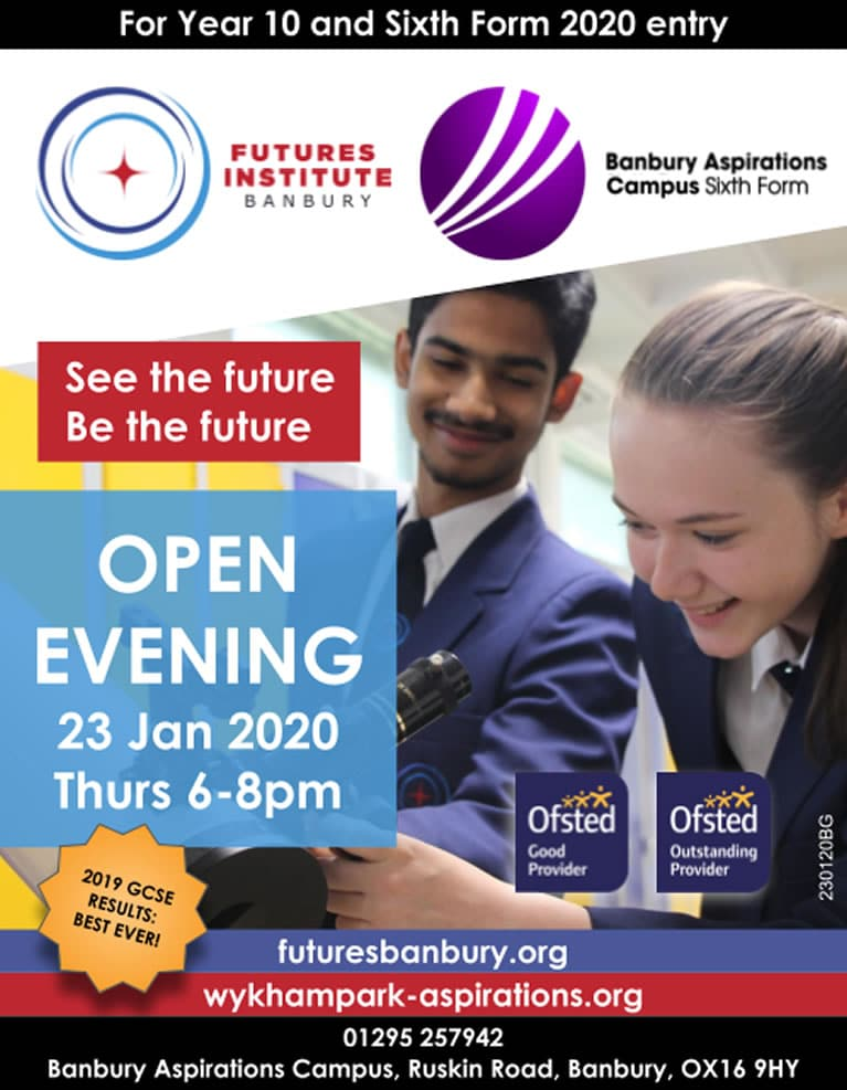 Futures Institute and Sixth Form Open Evening poster