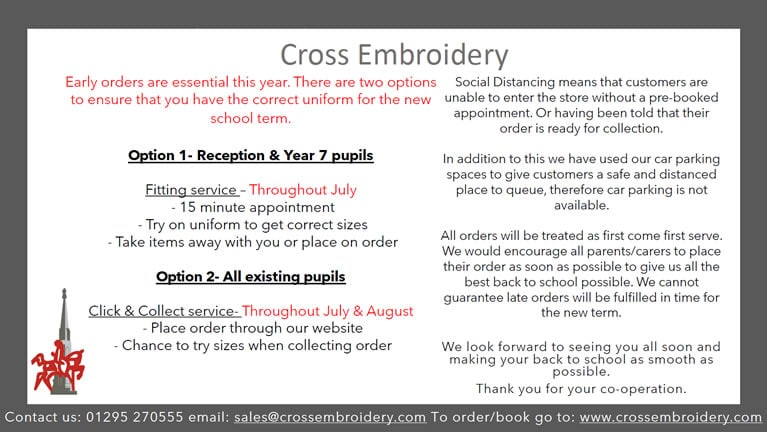 Cross Embroidery Uniform orders