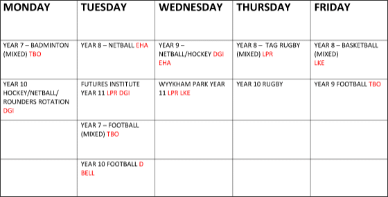 Timetable March 21