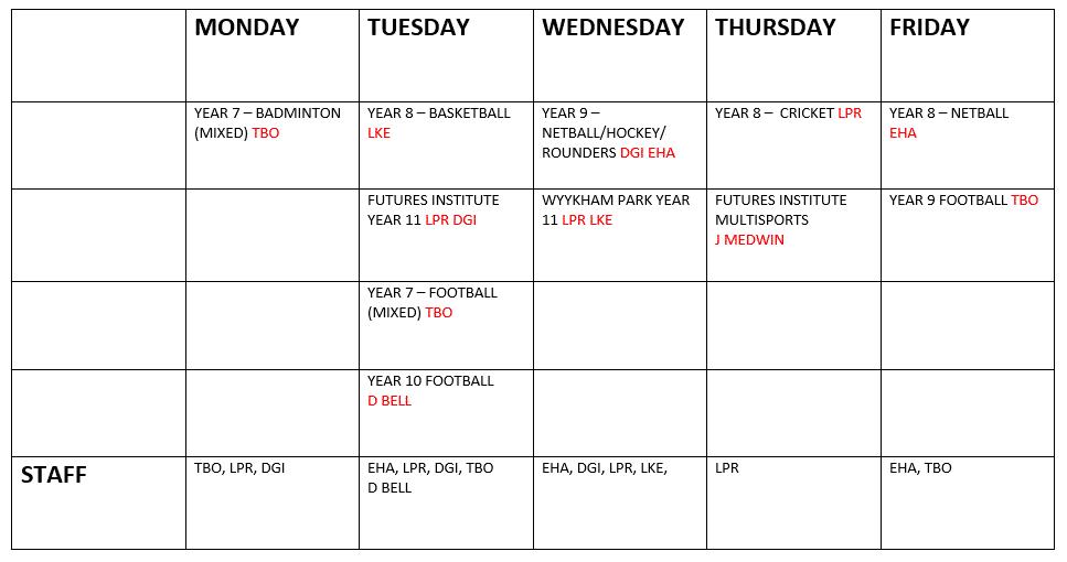 Timetable Term 5 2021