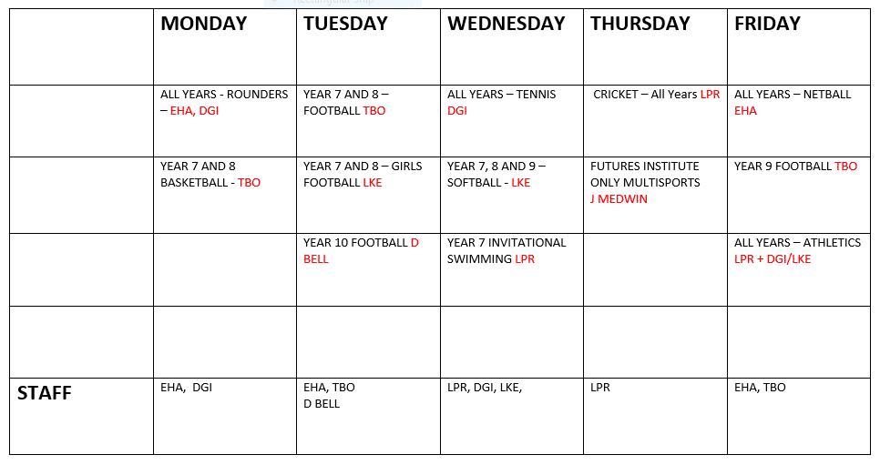 Timetable Term 6 2021