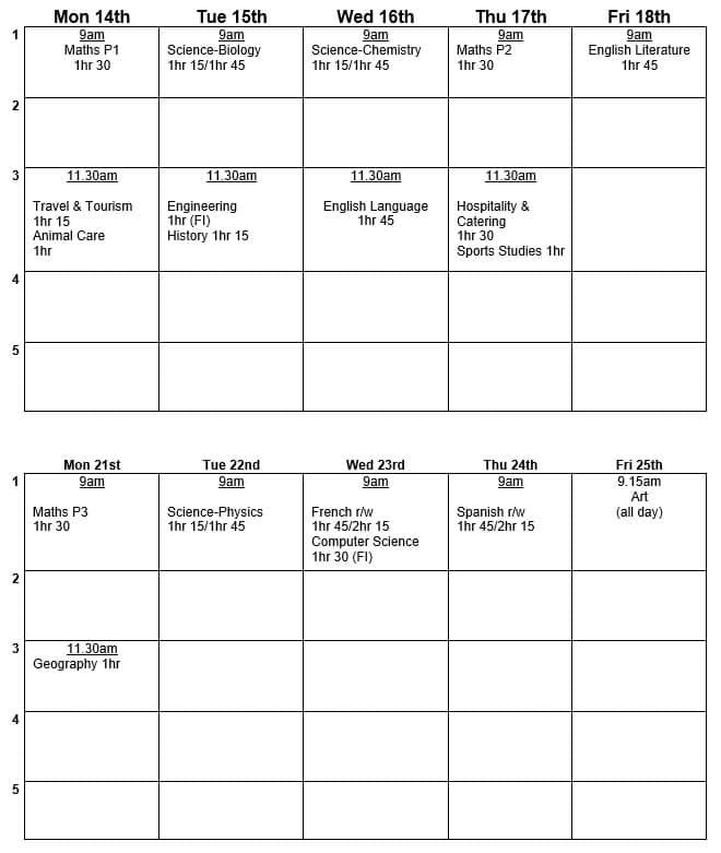 Y10 Mock Timetable June 21
