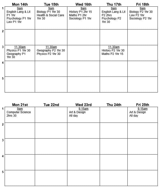 Y12 Mock Timetable June 21