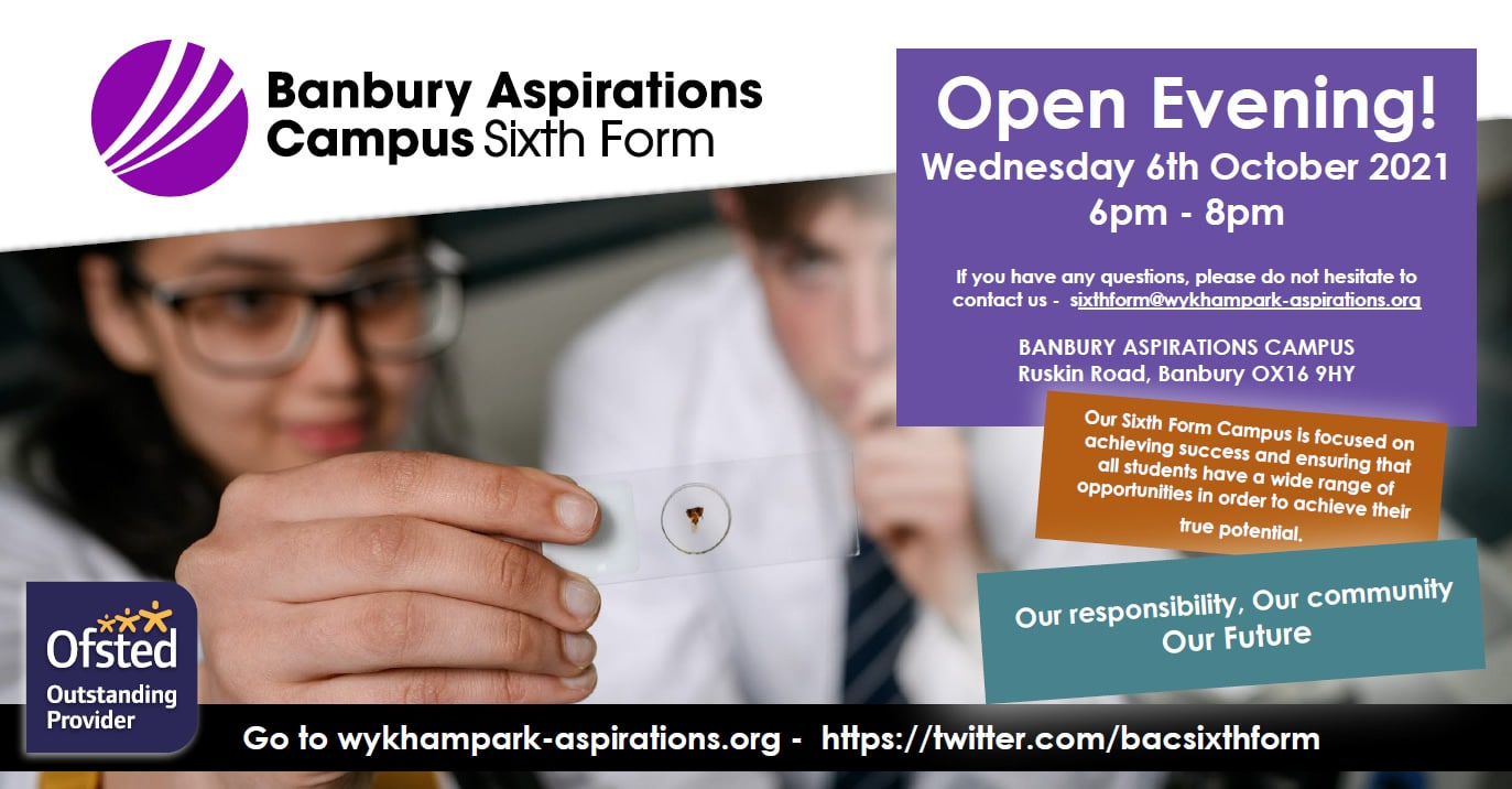 BAC Sixth Form Open Evening poster